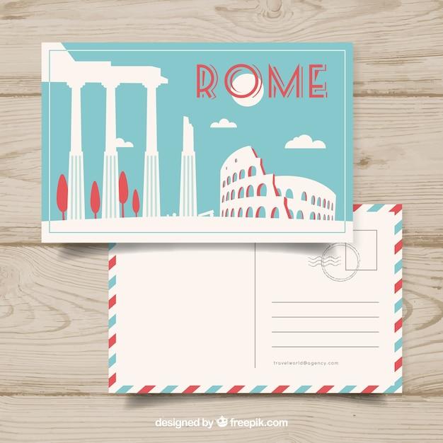 Leuke postkaart van een reis Gratis Vector
