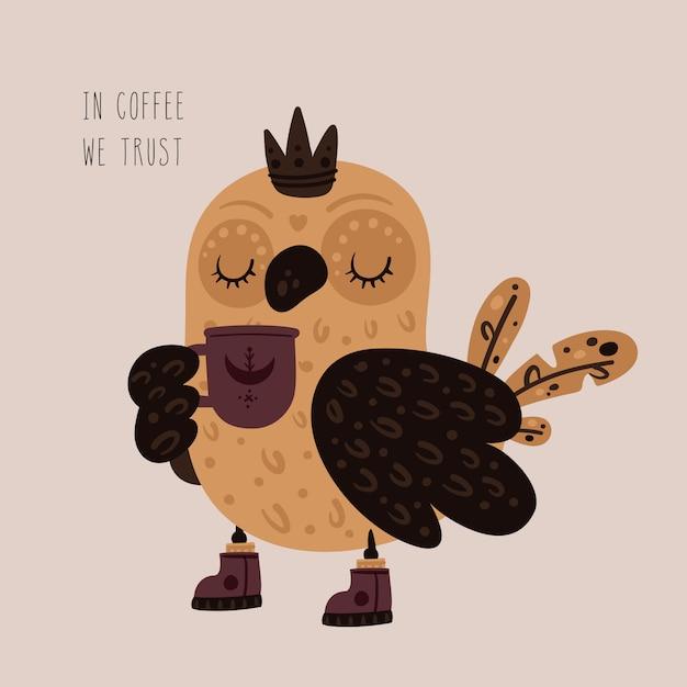 Leuke prinsesuil met kopje thee, koffie Premium Vector