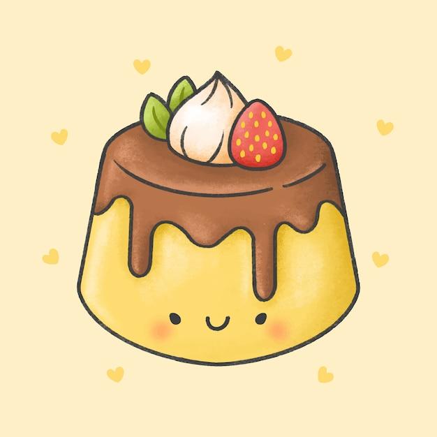 Leuke pudding met aardbei slagroom dessert cartoon hand getekende stijl Premium Vector