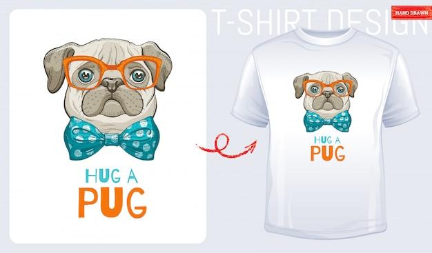 Leuke pug honden t-shirt print Premium Vector