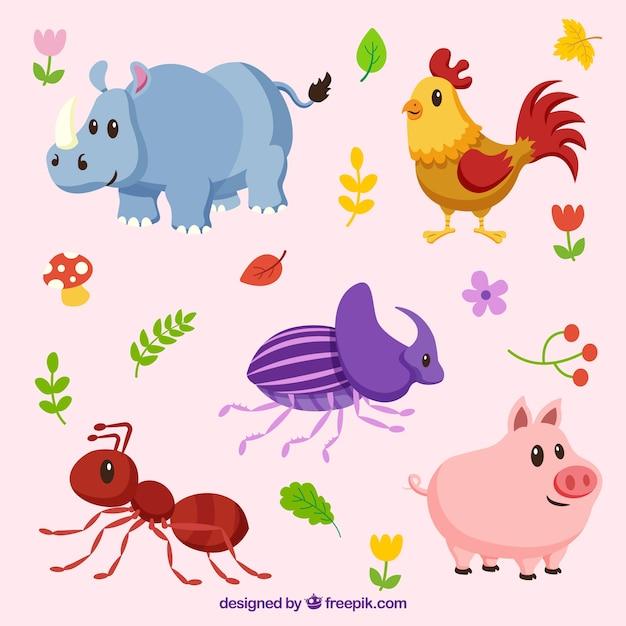 Leuke reeks dieren en insecten Gratis Vector