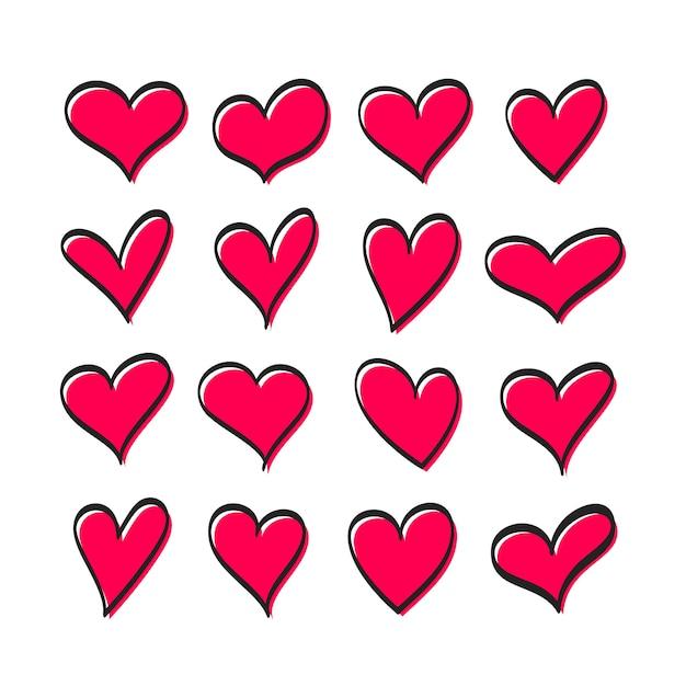 Leuke reeks harten van rode geïsoleerde kleur van verschillende vormen Premium Vector