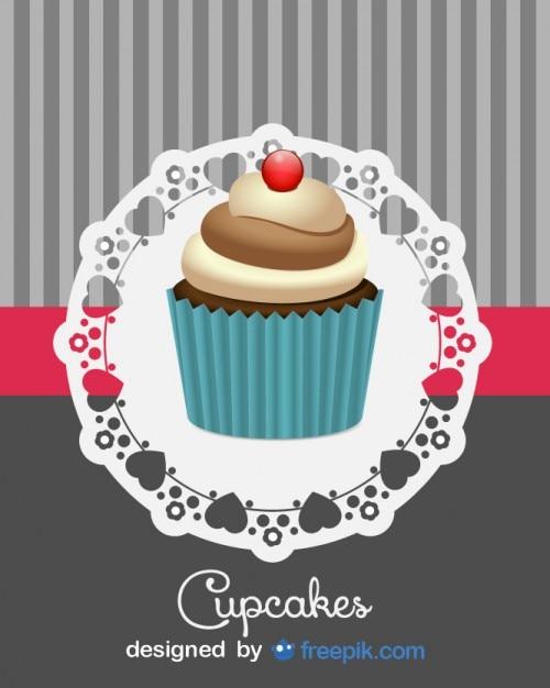 Leuke retro cupcakeontwerp Gratis Vector