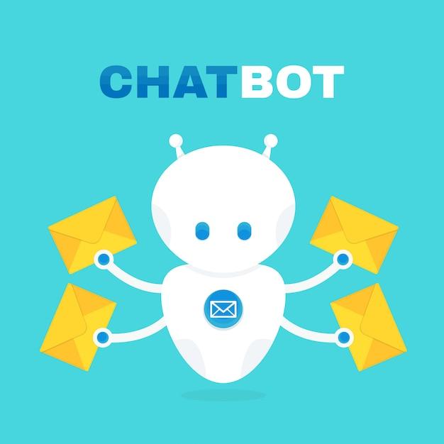 Leuke robot chat bot houdt envelop met een letter. Premium Vector