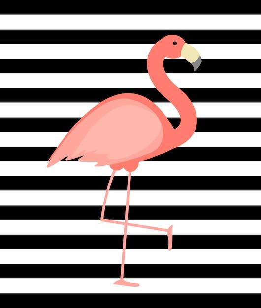 Leuke roze flamingo achtergrond Premium Vector