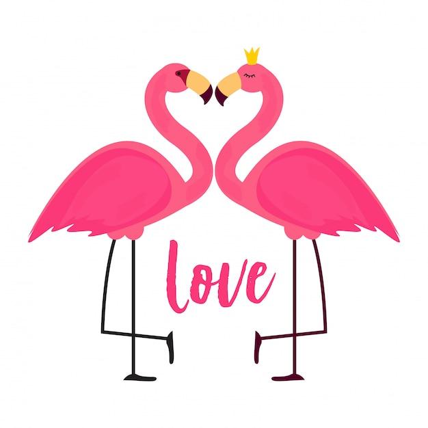 Leuke roze flamingo in liefde achtergrond illustratie Premium Vector