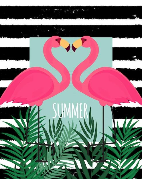 Leuke roze flamingo zomer achtergrond vectorillustratie Premium Vector