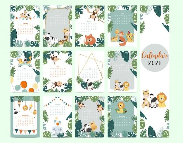 Leuke safarikalender 2021 met leeuw, giraf, zebra, vos, aap voor kinderen, kind, baby Premium Vector
