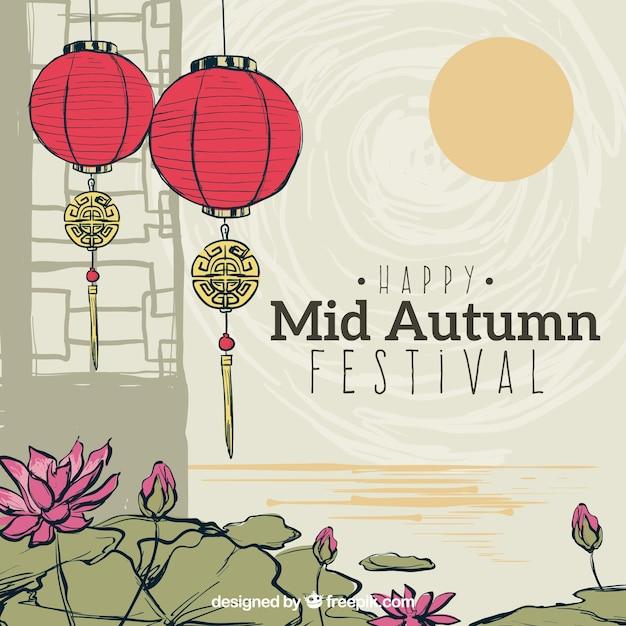 Leuke scène, midden herfst festival Gratis Vector