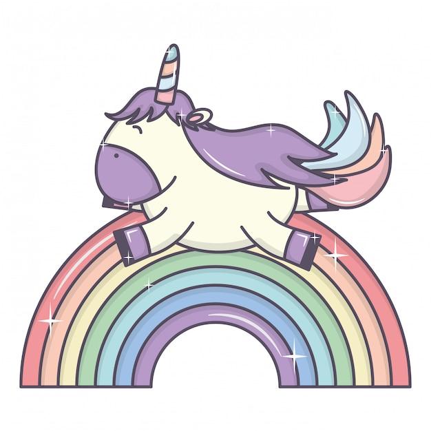 Leuke schattige eenhoorn en regenboog Gratis Vector