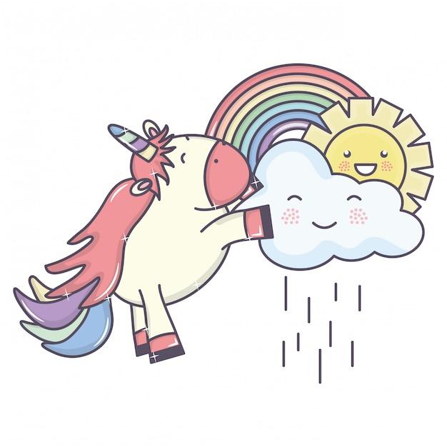 Leuke schattige eenhoorn met regenachtige wolken en regenboog Gratis Vector