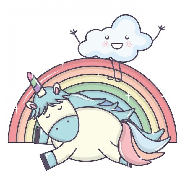 Leuke schattige eenhoorn met wolken en regenboog Gratis Vector