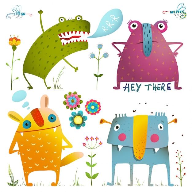Leuke schattige kleine monsters voor kinderen ontwerpen kleurrijke collectie. verbazingwekkende fictieve wezens Premium Vector