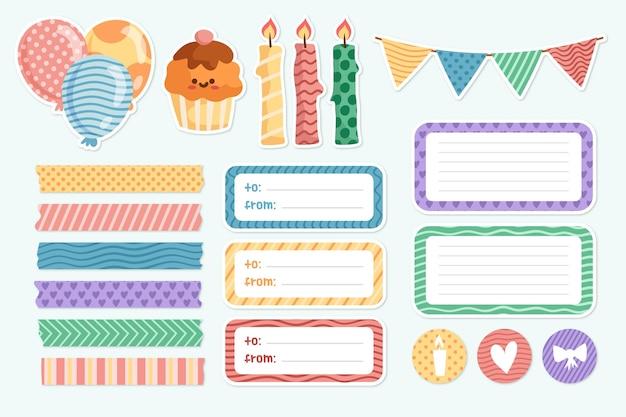Leuke scrapbooking collectie voor verjaardagsfeestje Gratis Vector