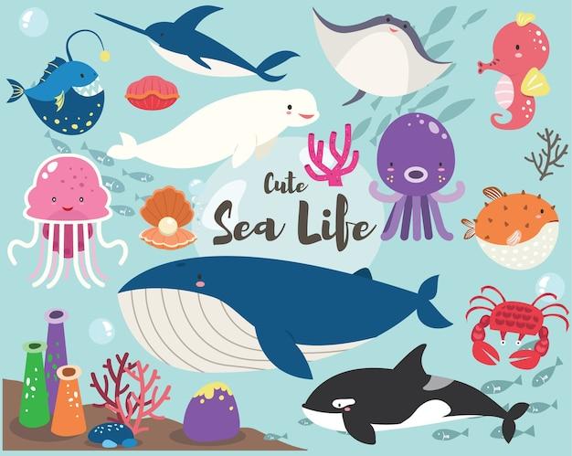 Leuke sea life collection set Premium Vector
