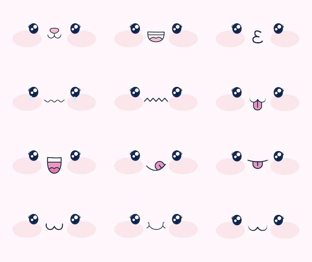 Leuke set gezichten kawaii Gratis Vector