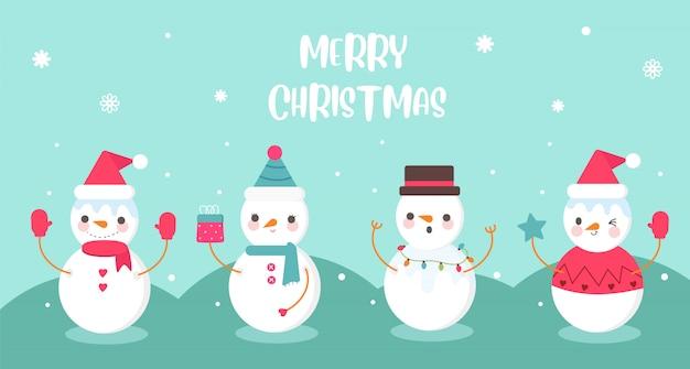 Leuke set van sneeuwpop in verschil kostuum banner Premium Vector