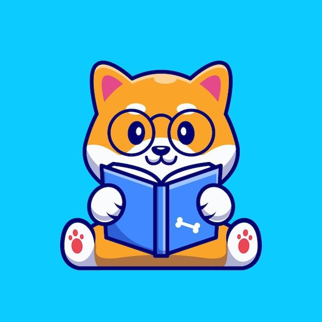 Leuke shiba inu dog reading book cartoon Gratis Vector