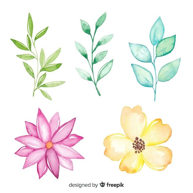 Leuke simplistische tekeningen van kleurrijke bloemen Gratis Vector