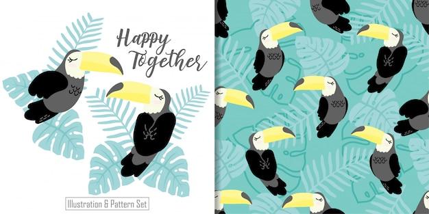 Leuke slaperige tucan-kaart getrokken naadloze het patroonreeks van de vogel tropische kaart Premium Vector