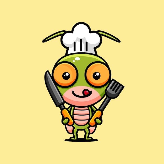 Leuke sprinkhaan karakter ontwerp thema chef-kok Premium Vector
