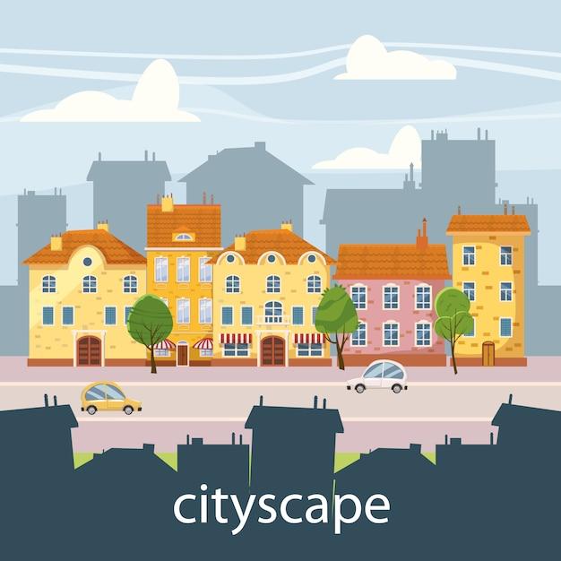 Leuke stadsgezicht, mooie huizen in cartoon-stijl Premium Vector