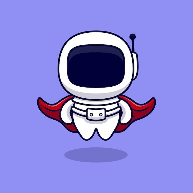 Leuke super astronaut cartoon. flat cartoon stijl Premium Vector