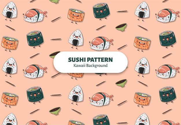 Leuke sushi patroon vector Gratis Vector