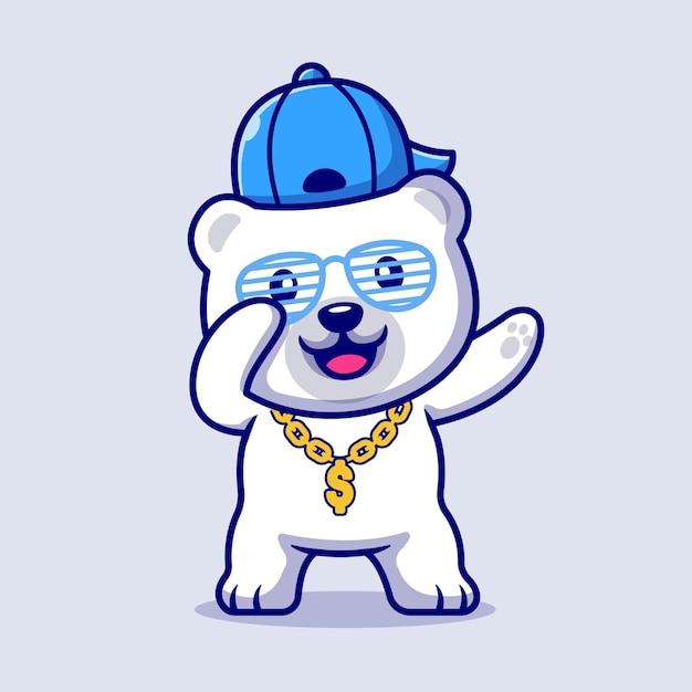 Leuke swag ijsbeer met hoed en gouden ketting ketting cartoon afbeelding. platte cartoon stijl Gratis Vector