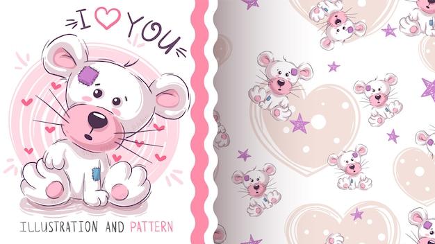 Leuke teddy panda - naadloos patroon Premium Vector