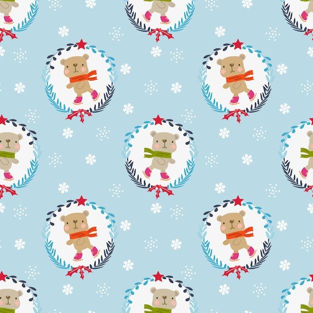 Leuke teddybeer in het thema naadloze patroon van de kerstmiswinter Premium Vector