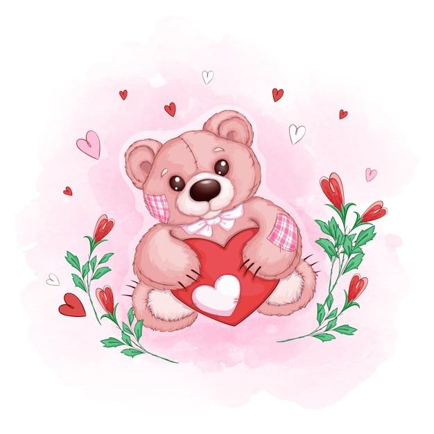 Leuke teddybeer met een kaart in de vorm van een hart en bloemknoppen Premium Vector