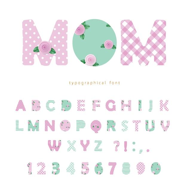 Leuke textiel lettertype in pastel roze en blauw Premium Vector