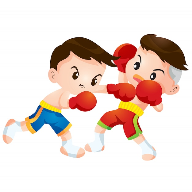 Leuke thaise bokswedstrijden die vechten staken en ontwijken Premium Vector