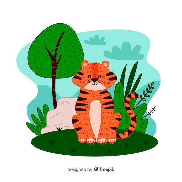 Leuke tijger Gratis Vector