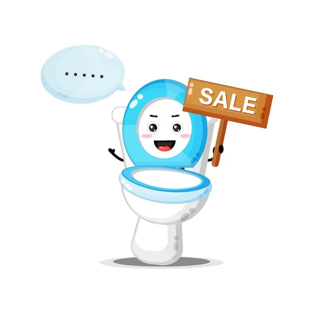 Leuke toiletpotmascotte met het verkoopbord Premium Vector