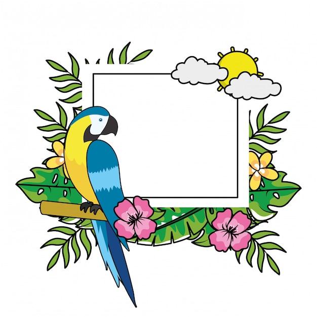 Leuke tropische papegaaicartoon Premium Vector