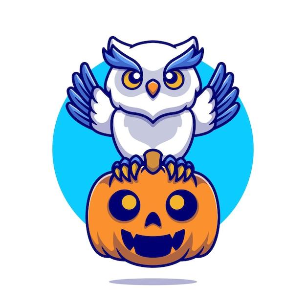 Leuke uil met pompoen halloween cartoon afbeelding. platte cartoon stijl Gratis Vector