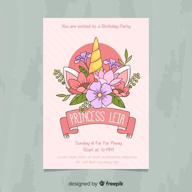 Leuke uitnodiging van de prinsespartij Gratis Vector