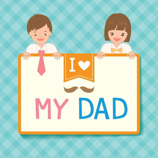 Leuke vaderdagkaart met jongen en meisjeskleding tot haar vader Premium Vector