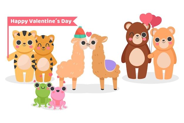 Leuke valentijnsdag dierlijke paar Gratis Vector