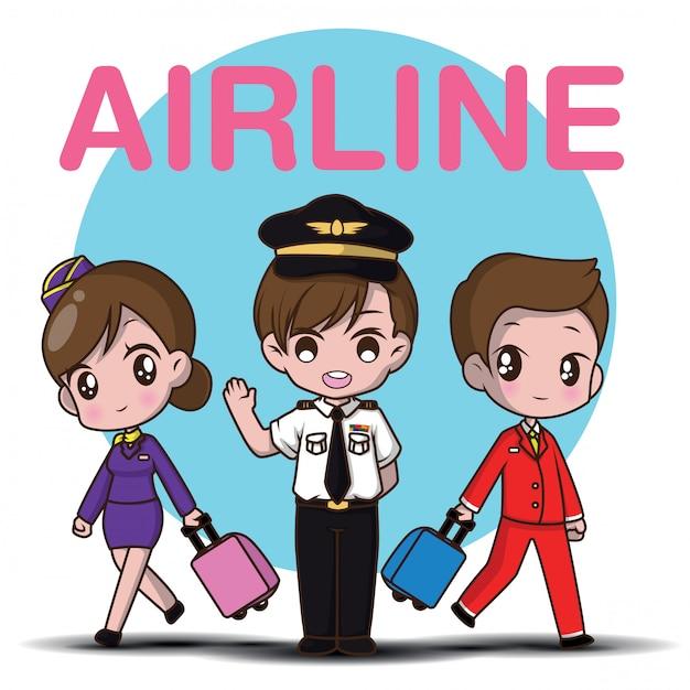 Leuke van de de stewardessstewardess van de beeldverhaalkarakter proef., luchtvaartlijnconcept. Premium Vector