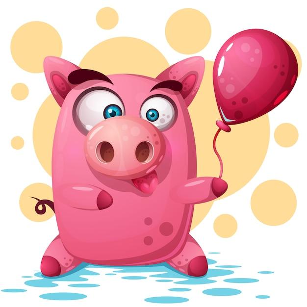 Leuke varkensillustratie met ballon. symbool van het jaar 2019. Premium Vector