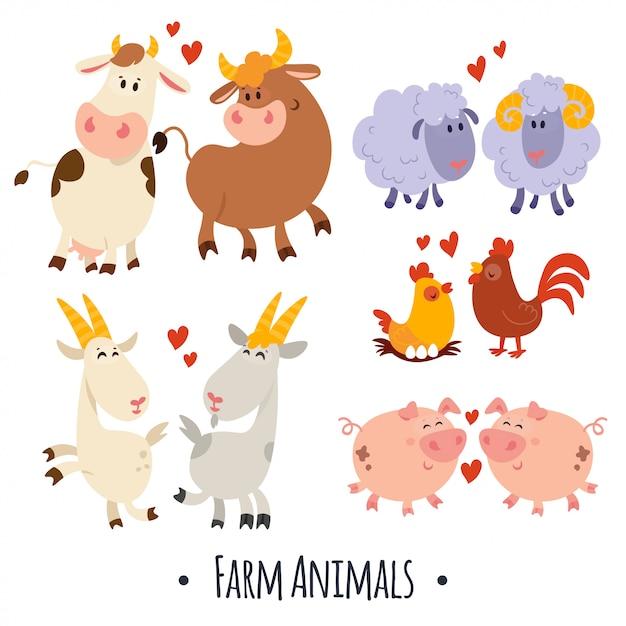 Leuke vector landbouwhuisdieren: varken, schapen, koe, geit, kip, haan Premium Vector