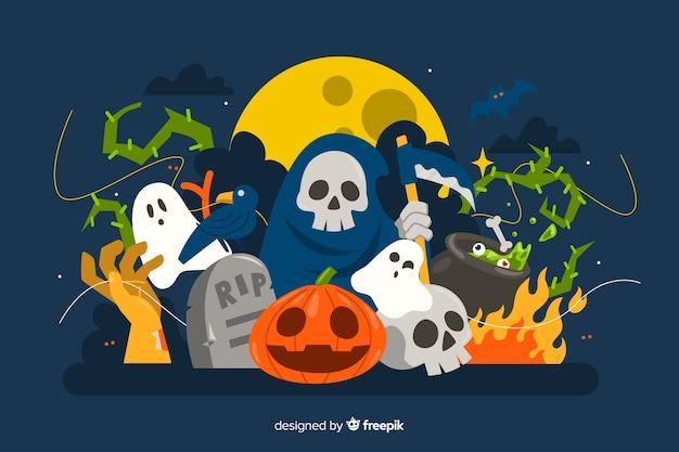 Leuke veelvoudige karakters halloween-achtergrond in vlak ontwerp Gratis Vector