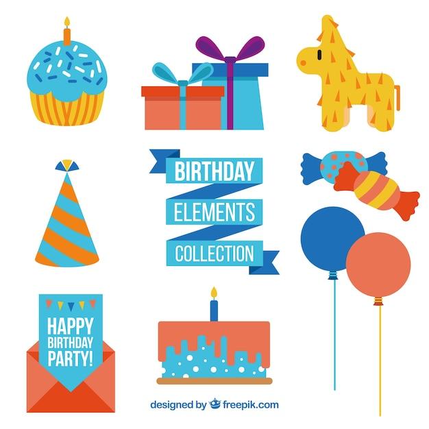 Leuke verjaardag decoratie in plat design vector gratis for Decoratie verjaardag