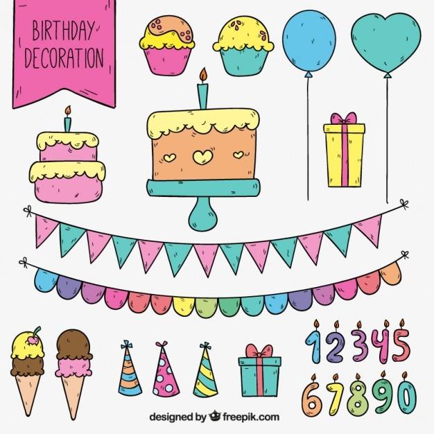 Leuke verjaardag decoratie vector gratis download for Decoratie verjaardag