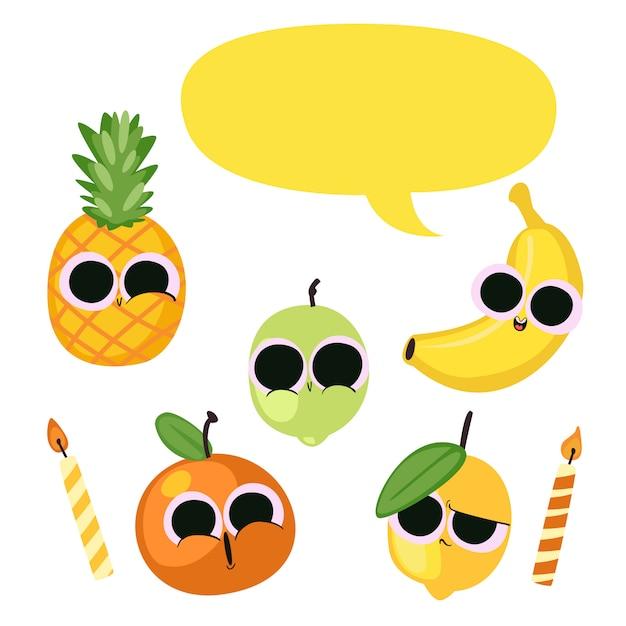 Leuke verjaardag illustratie groente & fruit Premium Vector