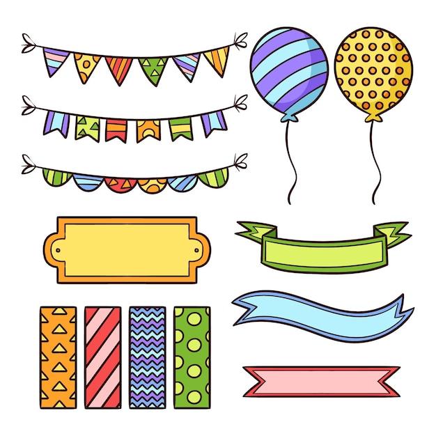 Leuke verjaardag plakboek elementen collectie Gratis Vector