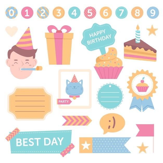 Leuke verjaardag plakboek set Gratis Vector